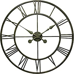 Infinity Instruments Iron Tower 30 Inch Greyish Green Metal Wall Clock