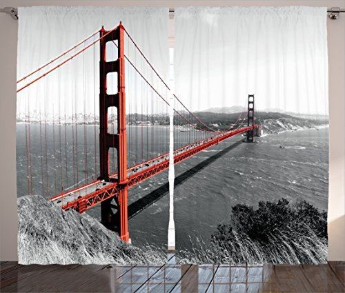 Ambesonne Apartment Decor Collection, Golden Gate Bridge Civil Engineering History Monochromatic Travel Destinations View, Living Room Bedroom Curtain 2 Panels Set, 108 X 84 Inches, Dimgray