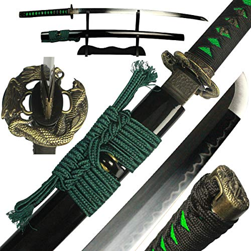 DTYES Handmade Japanese Samurai Katana Sword/Ninja Sword/Shirasaya, Functional, Hand Forged, 1060/1095/T10 Carbon Steel/Damascus Steel, Heat Tempered/Clay Tempered, Full Tang, Sharp, Wooden Scabbard