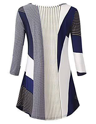 BaiShengGT Women's O Neck 3/4 Sleeve Pleated Regular Fit Knit Tunic Top Blouse