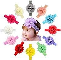 12pcs Baby Girls Flower Headbands Set - Hair Accessories for Newborns Infants Toddlers (Flower Series 2)