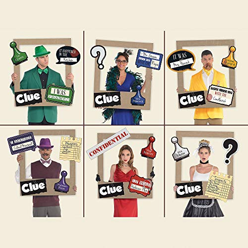 Amscan Giant Clue Photo Frame Supplies, 19 Pieces, Include a Large Frame and 18 Clue-Themed Cutouts for a Selfie Station