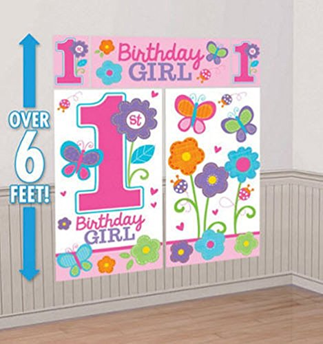 Lunarland SWEET BABY GIRLS 1ST 1 BIRTHDAY SCENE SETTER Wall Decoration Party Backdrop 05