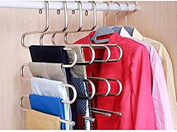 Drhob 1PCS Multi Purpose Metal Magic Pants Hanger Closet Hangers Space Saver Storage Rack For