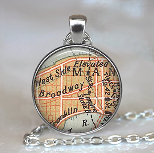Broadway map necklace, Times Square map pendant, actress gift, Empire State Building, theatre - New Time Square Stores In York