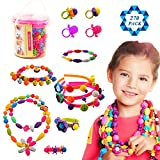 SOTOGO 270 Pieces Snap Beads Pop Beads Art Crafts for DIY Jewelry Making Set Toys (Do Not Need...