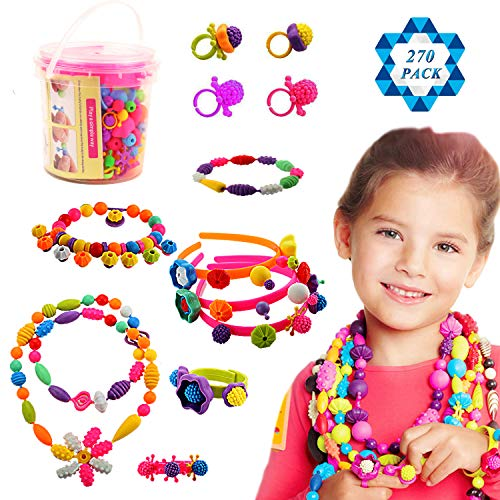 SOTOGO 270 Count Snap Beads Pop Beads Art Crafts for DIY Jewelry Making Set Toys (Do Not Need String) - Hair Clasp,Necklace, Bracelet and Ring, Best Toys Gift ()