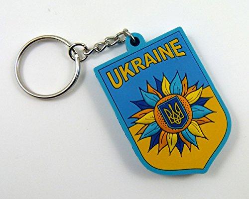 (Car Chrome Decals Ukrainian Keychain Flag of Ukraine Tryzub Trident Sunflower PVC keytag Key Chain)