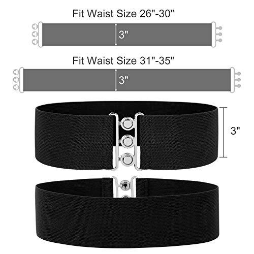 Wide Elastic Waist Belt Womens Casual Cinch Belt Stretch Waistband 2 Pack Black & White