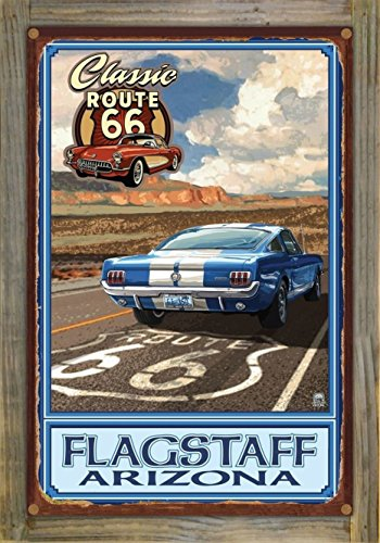 Flagstaff, Arizona Route 66 Mustang Rustic Metal Print on Reclaimed Barn Wood by Paul A. Lanquist (12