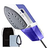 EASEHOLD Garment Steamer Steam Iron Clothes Steamer Handheld 2 in 1 Flat and Hang Dry and Steamer Ironing Portable for Travel Dewrinkle Fabric (Blue)