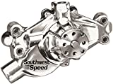 """NEW SOUTHWEST SPEED POLISHED ALUMINUM SHORT SMALL BLOCK CHEVY WATER PUMP, SBC, PRECISION IMPELLER, 1/2"""" NPT PORTS, WITH PROVISION FOR CAM STOP"""