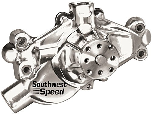 NEW SOUTHWEST SPEED POLISHED ALUMINUM SHORT SMALL BLOCK CHEVY WATER PUMP, SBC, PRECISION IMPELLER, 1/2