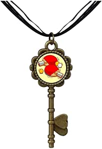 Chicforest Bronze Retro Style Olympics table tennis paddle and ball Key to Her Heart Pendant