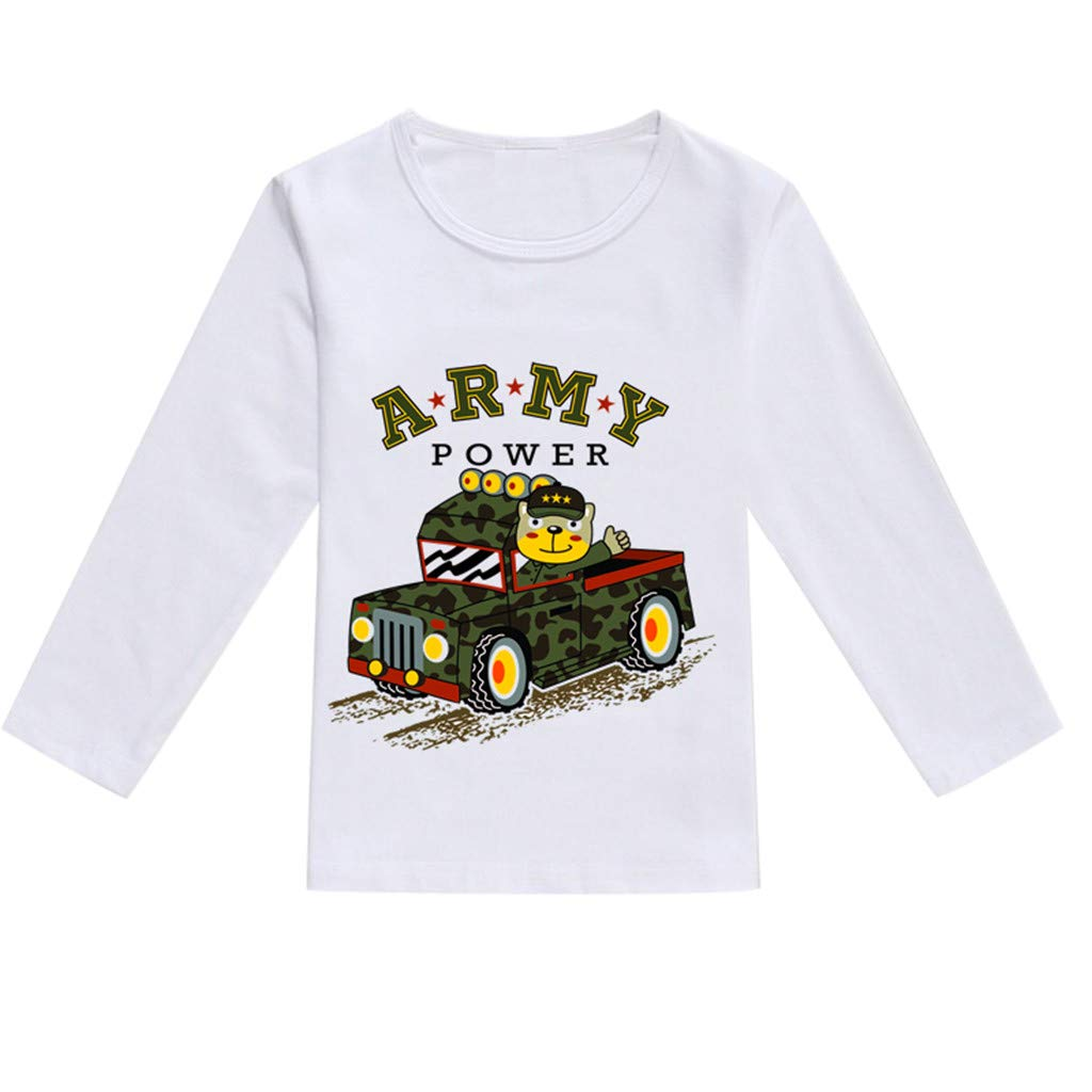 NUWFOR Toddler Baby Kids Boys Girls Spring Cartoon Print Tops T-Shirt Casual Clothes(Army Green,12-18 Months)