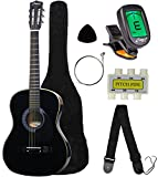 Crescent MG38-BK 38'' Acoustic Guitar Starter Package, Black (Includes CrescentTM Digital E-Tuner)