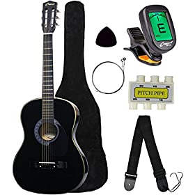 "Crescent MG38-NR 38"" Acoustic Guitar Starter Package, Natural (Includes CrescentTM Digital E-Tuner) 4"