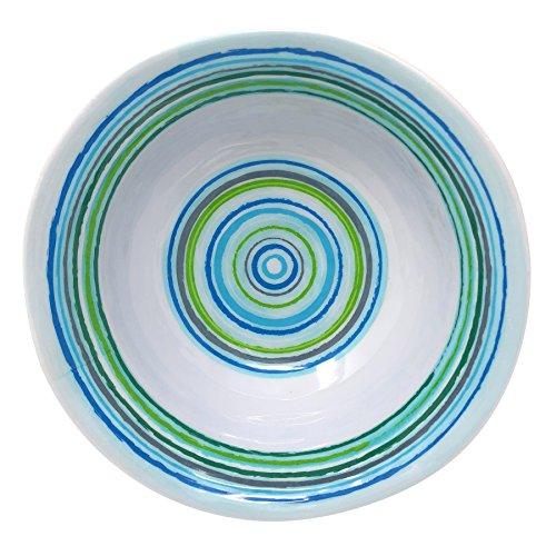 Marine Blue Dinner - Merritt Mystique Stripe 6-inch Melamine Salad Bowl, Marine Blue/Lime, Set of 6
