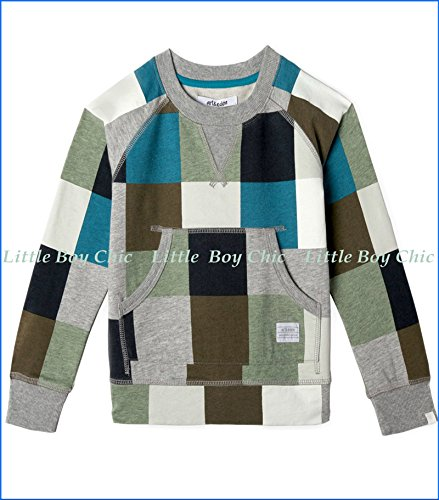 art & eden Baby Boys' Organic French Terry Square Fashion Sweatshirt in Egret 9-12mo Off-White by art & eden