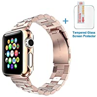 Apple Watch Band, Eoso Solid Stainless Steel Metal Apple Watch Strap with Durable Folding Clasp for iWatch(Stainless Steel Rose Gold,38mm)