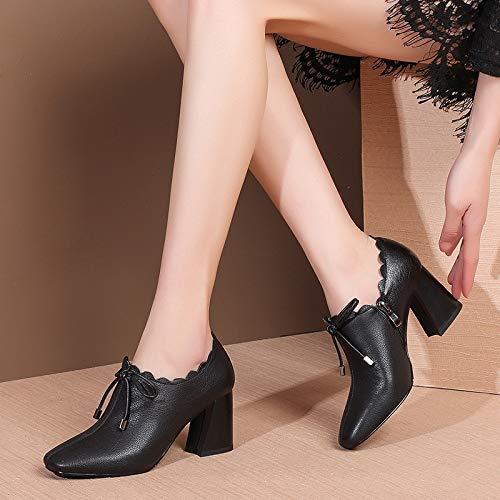 Arco Cuadrada Primavera Tacones 2019 Cremallera Shinik Altos Solo Encaje Cuero Mujer Negro Moda Zapatos Cabeza xFqCwCz8X