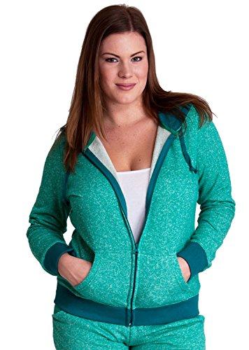 Jade Woman Plus Size Textured Knit Print Front Zipper Pocket Hoodie