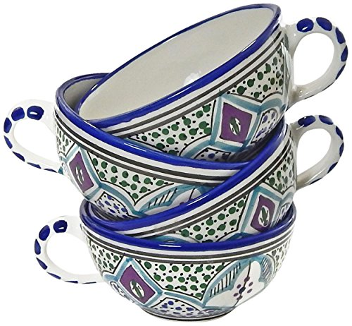 Le Souk Ceramique Malika Design Latte/Soup Mugs, Set of 4