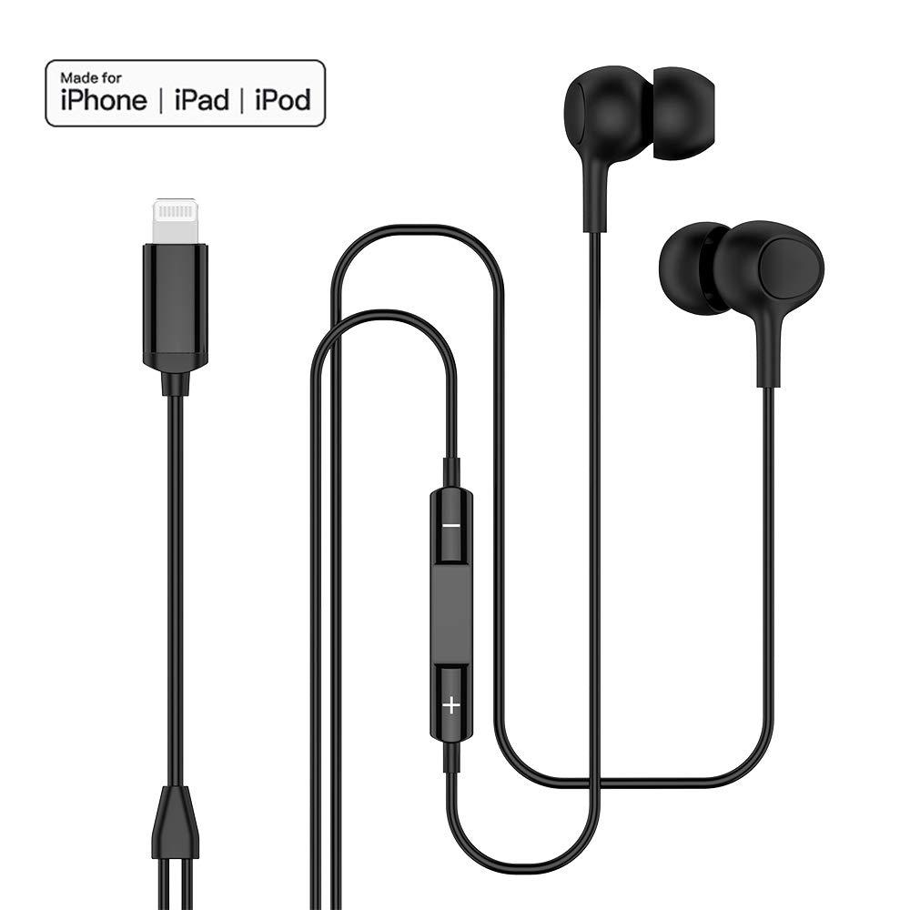 MFi認定イヤホン ライトニングコネクター マイク付き ボリュームコントロール 有線ヘッドホン ノイズアイソレーション マイク付きイヤホン iPhone Xs Max、Xr、X、8 Plus、7 Plus、iPad対応   B07PM6GBZK
