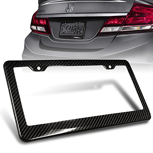 1Pc JDM Style 100% Real Carbon Fiber License Plate Frame Holder Black 3D Twill Weave Tag Cover Front or Rear Auto Car US 2004 Ford Focus Carbon