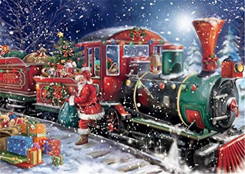 YEESAM ART DIY Paint by Numbers for Adults Beginner Kids, Christmas Santa Claus Gift Train 16x20 inch Linen Canvas Acrylic Stress Less Number Painting Gifts (Train, Without Frame)
