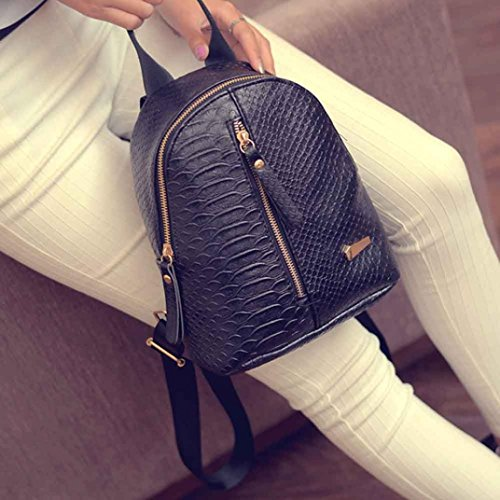 Paymenow Black Zipper Bag Travel Schoolbags Girl Leather Shoulder Camping Hiking Lattice rUv4rq