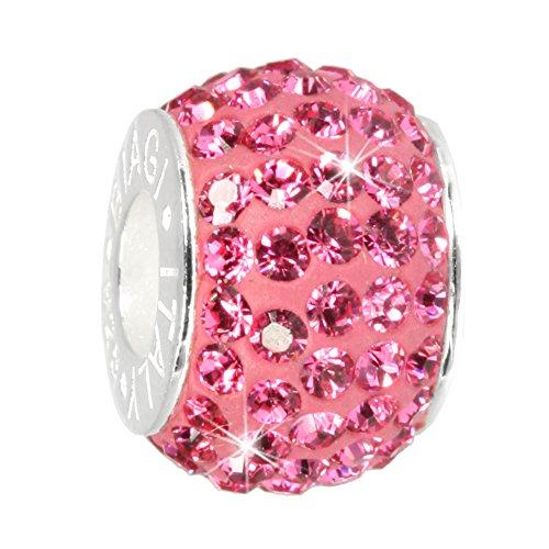 Carlo Biagi Beads - zircon Bead bague avec Swarovski Elements Kristalle rose pour bead bracelet, collier, boucles d'oreilles - Drops Femme Argent 925 Sterling - BBSCR01P