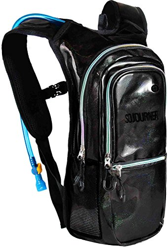 Sojourner Rave Hydration Pack Backpack – 2L Water Bladder Included for Festivals, Raves, Hiking, Biking, Climbing, Running and More (Medium) (Shimmer – Black)