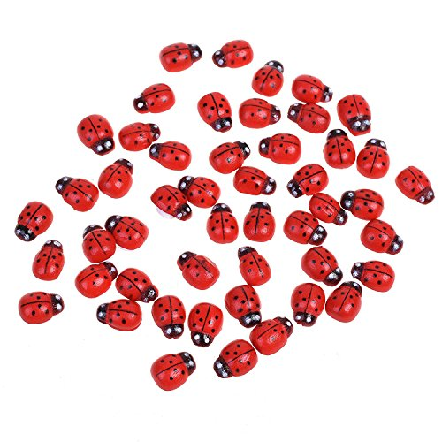 Cosmos Mini Wood Ladybugs Shaped Stickers Miniature Dollhouse Bonsai Fairy Garden Landscape Ladybugs Decor, 100 Pieces (Wood Ladybug)