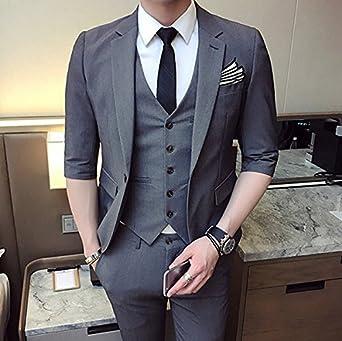 cb6f512a52b63 スリムスーツ スタイリッシュスリム メンズスーツ 七分袖 3ピース スリムスーツ セットアップ スーツ