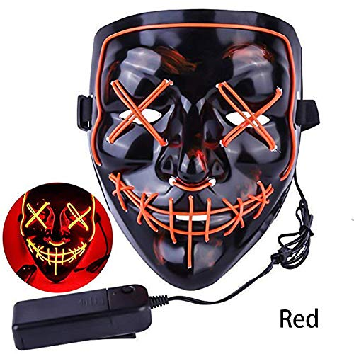 Halloween Mask LED Light up Purge Mask Frightening Wire Cosplay for Festival Parties Costume Received Before Halloween(Red)]()