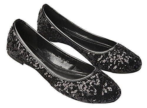 Black Plaid Flat Shoe (Plaid&Plain Women's Solid Sequins Round Toe Slip On Low Cut No Heels Flats Pumps Shoes Black 41)