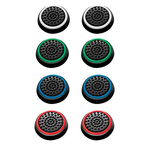 4 Pairs 8 Pcs Silicone Cap Joystick Thumb Grip Protect Cover for Ps3 Ps4 Xbox 360 Xbox One Wii U Game Controllers (Analog Controller Thumb Grips)
