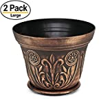 12'' Medieval Flowerpots, set of 2 Planter for Garden Patio Office Ornaments Home Decor Long Lasting Reusable Light Weight (Copper)
