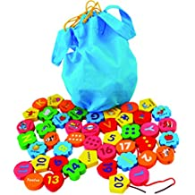 Toys of Wood Oxford Jumbo Wooden Threading Beads Alphabet Blocks and Number Blocks 46 pieces