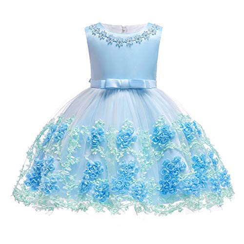 5T Dresses for Girls 5 6 Years Old 6 Girl Blue Flowers Dress Special Occasions 6X Easter Christmas Xmas Pretty Dress Cute Lace Tutu Pageant Party Princess Dresses for Girls Blue 5-6T ()