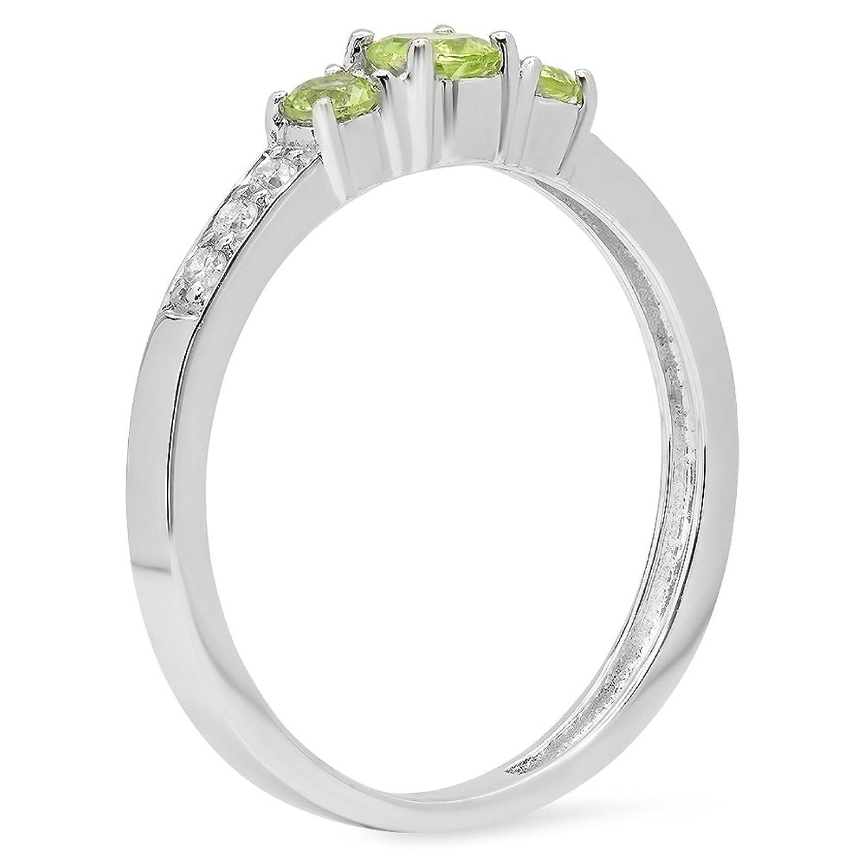 10k white gold green peridot white diamond three stone engagement 10k white gold green peridot white diamond three stone engagement bridal ring amazon ccuart Choice Image