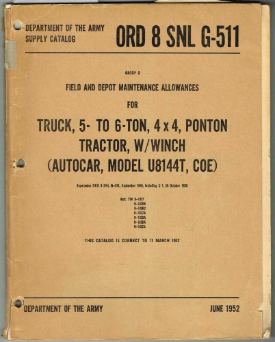 ORD 8 SNL G-511, SUPPLY CATALOG, GROUP G FIELD AND DEPOT MAINTENANCE ALLOWANCES FOR TRUCK, 5- TO 6-TON, 4 x 4, PONTON TRACTOR, W/WINCH (AUTOCAR, MODEL U8144T, COE) W/Change No. 1