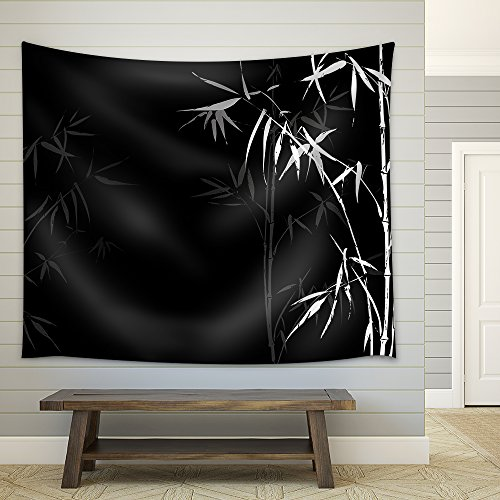 Vector White Bamboo branches imprint on black background Japanese Chinese elements in asian ornament style Fabric Wall