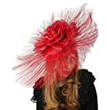 Hats By Cressida Beautiful Ascot Derby Large Ostrich Feathers Fascinator With Silk Flower - Red