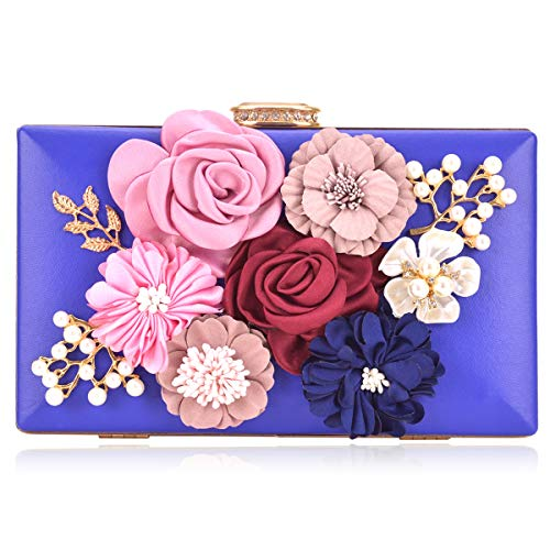 - Women Flower Clutches Handbags Evening Bags Prom Party Wedding Cocktail Clutch Purses with Pearls Beaded
