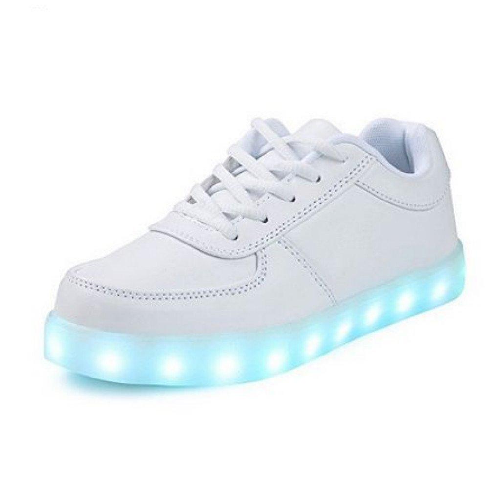 Colorful luminous shoes USB charging flash shoes high to help magic board shoes White 41/10 B(M) US Women / 7.5 D(M) US Men