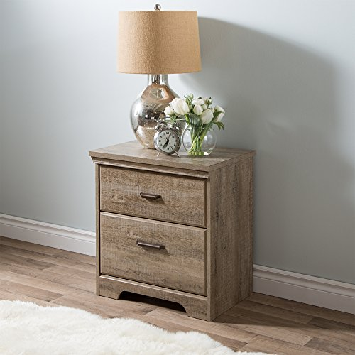 Drawer Nightstand, Weathered Oak with Antique Handles ()