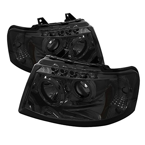 [For 2003-2006 Ford Expedition] LED Halo Ring Chrome Smoke Projector Headlight Headlamp Assembly, Driver & Passenger Side