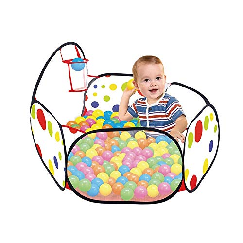 Leslily Kids Ball Pit Playpen, for Indoor/Outdoor Fun Activities.Kids Ball Pit Playpen Tent Pool,39.8×20.3×14.6In(Ball,Basketball Hoop Included) Infant Safety Fence ()